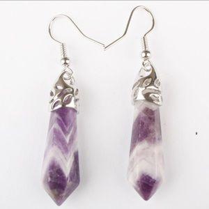 Bohemian amethyst crystal earrings🌸✌🏻️🌈